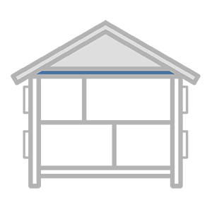 Schematic of a house looking at ceiling insulation.