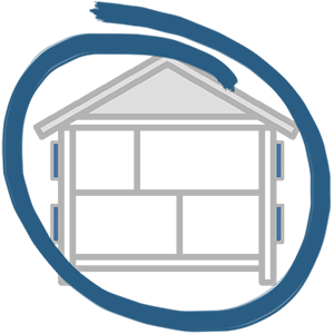 Schematic of a house with windows being treated with secondary glazing