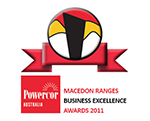 Macedon Ranges Business Excellent Award 2011 logo - Red, yellow, white and black Award Winners with Retrofit Solutions