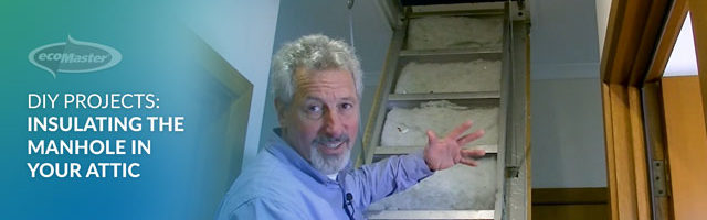 ecoMaster Maurice Beinat pointing out the manhole to their attic